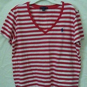 Ralph Lauren Pink White Stripe Tee XL